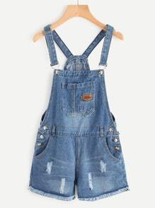 Distressed Raw Hem Denim Overall Romper