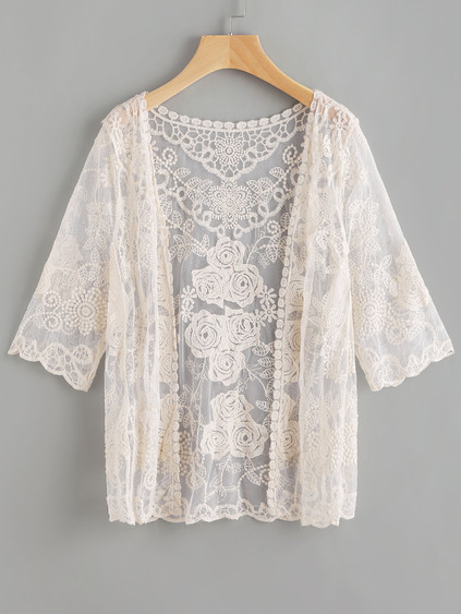 Scallop Sleeve Embroidered Lace Kimono