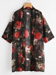 Flower Print Chiffon Kimono