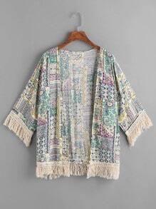 Vintage Print Fringe Kimono