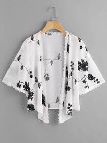 Scallop Lace Trim Mono Embroidered Kimono