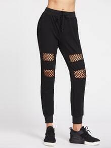 Pantalones gimnásticos con malla insertada de cintura con cordón