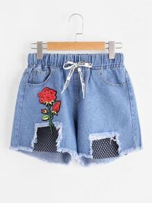 Rose Embroidered Cutout Drawstring Raw Hem Shorts