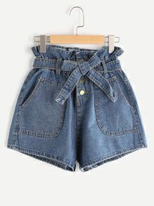 Tie Shirred Waist Denim Shorts