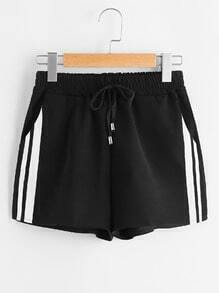 Shorts deportivo de lado de rayas de cintura con cordón