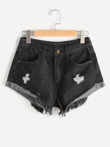 Shorts roto de borde crudo