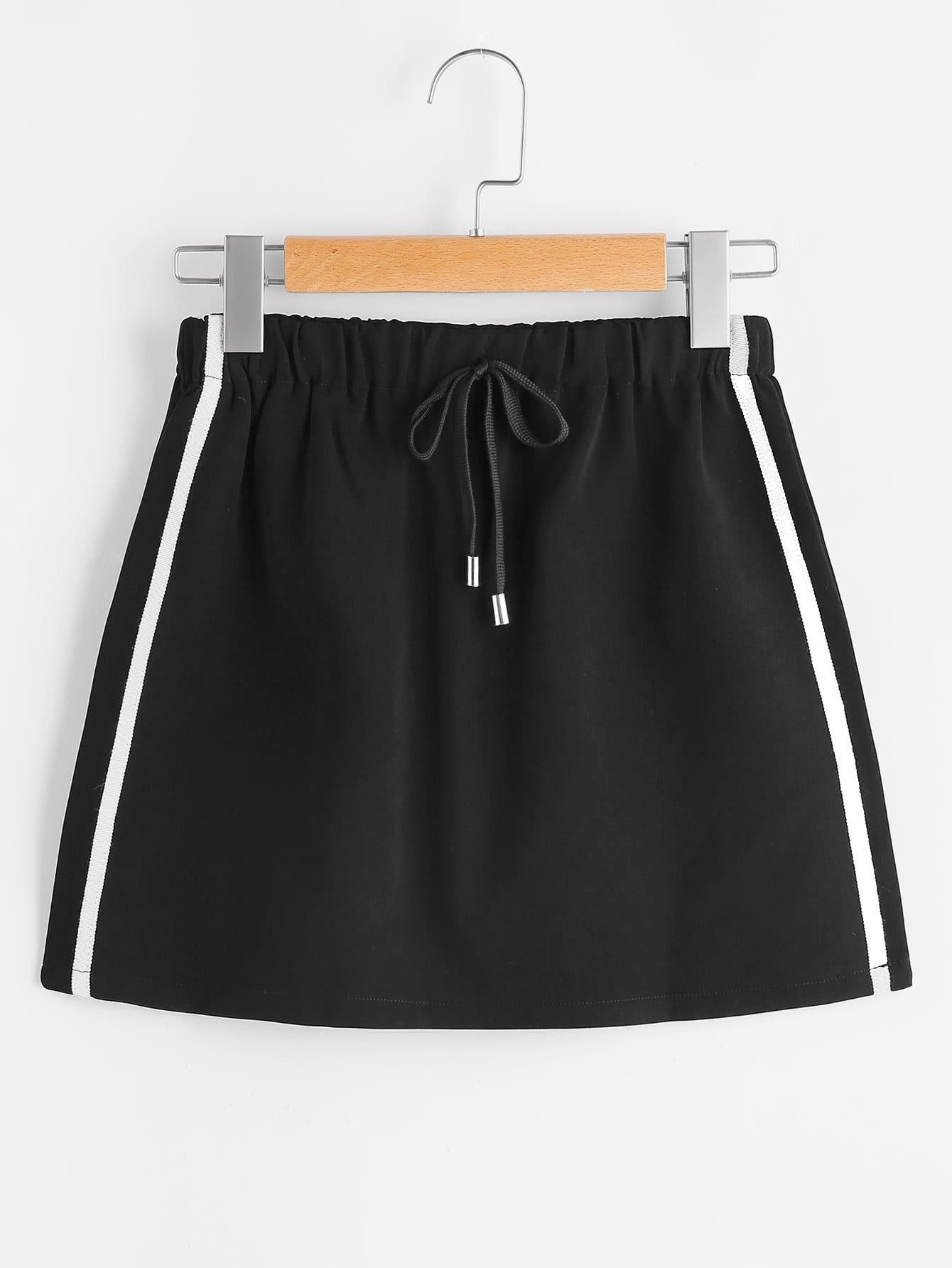 Side Stripe Tube Drawstring Skirt