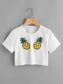 Camiseta corta tejida de canalé con estampado de piñas