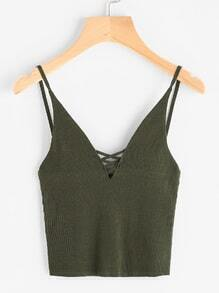 Ring Detail Lace Up Front Ribbed Cami Top