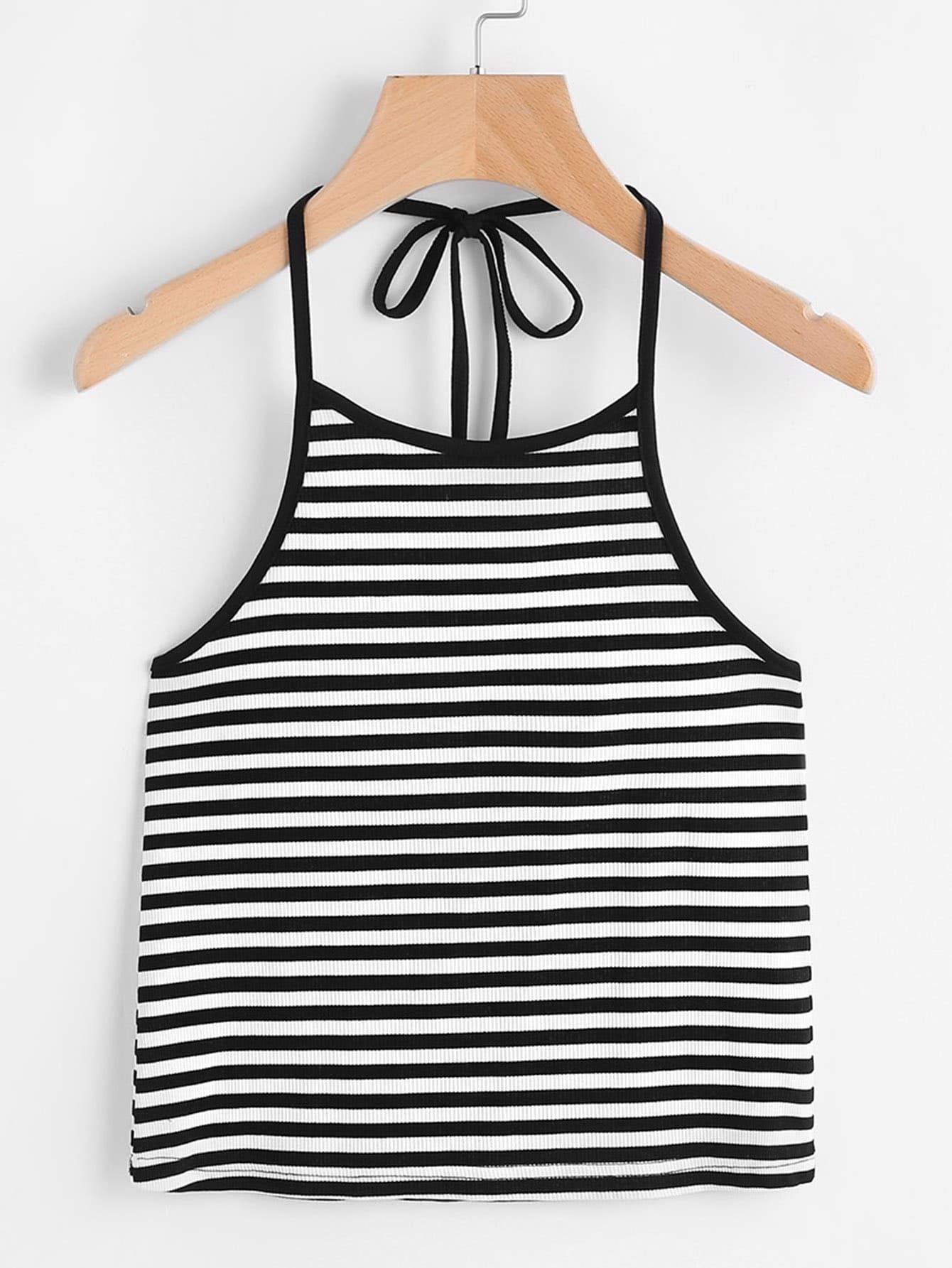 Halter Neck Contrast Striped Knit Top