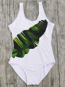 Impression des feuilles, Scoop Neck One Piece Beachwear