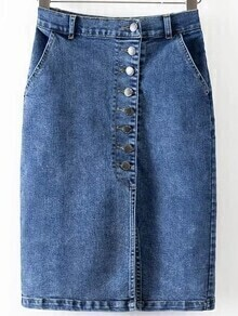 Single Breasted Front Denim Bodycon Skirt