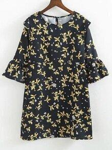 Vestido con estampado floral de espalda con abertura de manga campanuda