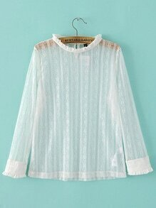 Band Collar Sheer Lace Top