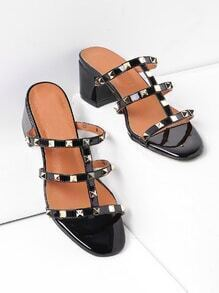 Studded Block Heeled Caged Mules
