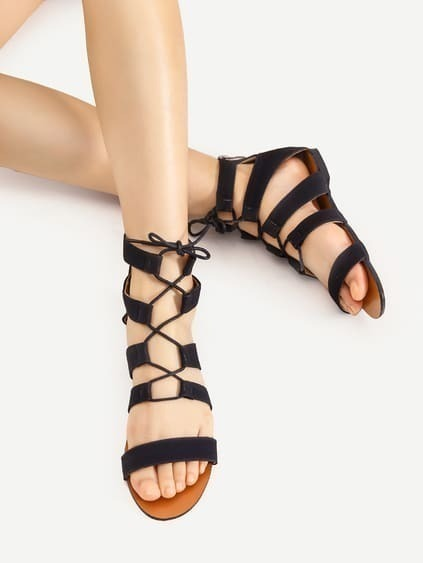 Lace Up Gladiator Flache Sandalen