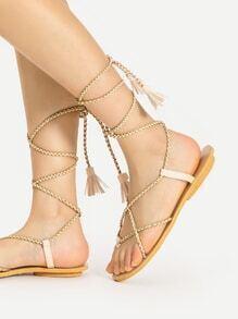 Braided Strap Tassel Tie Flat Sandals