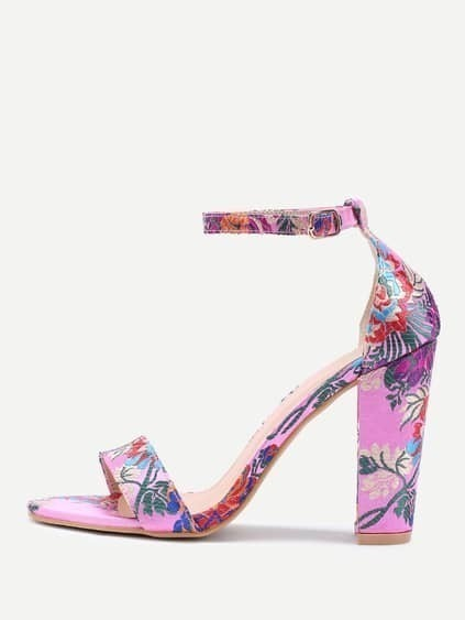 Two Part Jacquard Chunky Heeled Sandals