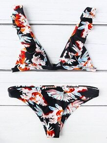 Black Flower Print Ruffle Strap Triangle Bikini Set