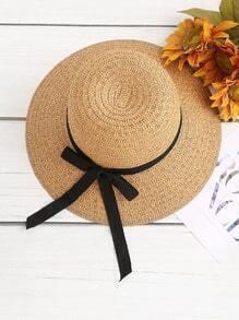 Contrast Bow Tie Straw Hat