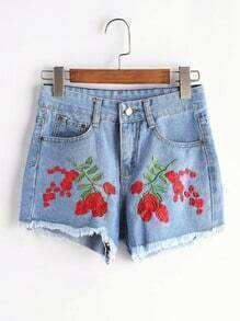 Stickerei Raw Hem Denim Shorts