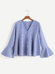 Gingham V-Ausschnitt Bell Sleeve Bluse