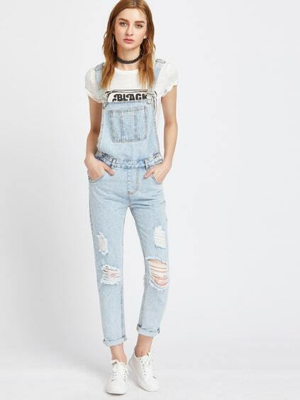 Bleu clair déchiré Bleach Wash Cuffed Jeans ensemble