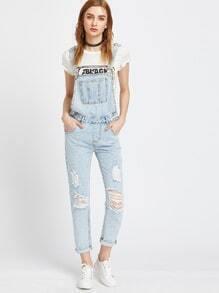 Bleu clair déchiré Bleach Wash Cuffed Jeans ensemble