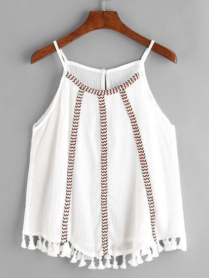 White Embroidered Tape Detail Tassel Hem Cami Top