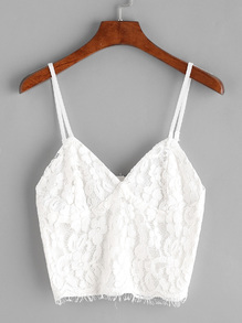 White Eyelash Lace Overlay Zipper Back Crop Cami Top