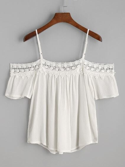 White Contrast Crochet Trim Cold Shoulder Top
