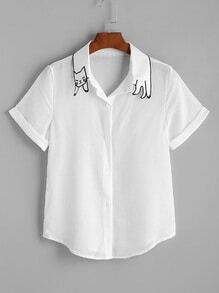 White Cat Shape Collar Cuffed Curved Hem Shirt