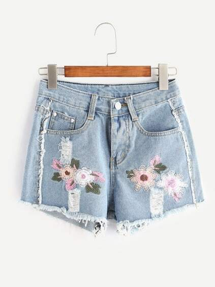 Shorts con bordado con rotura en denim - azul claro