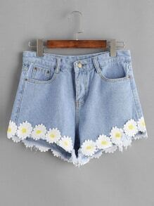 Light Blue Appliques Raw Hem Denim Shorts