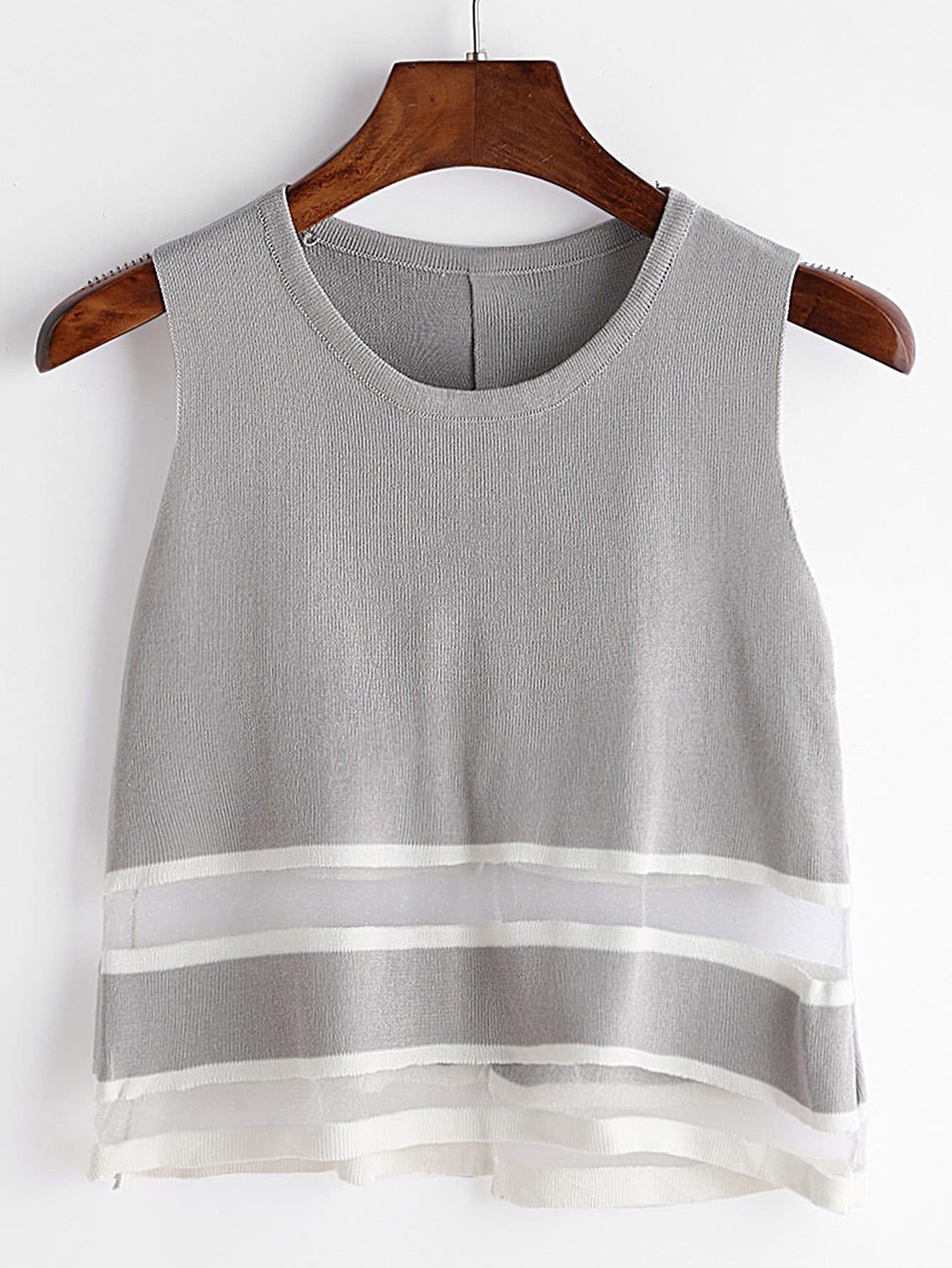 Grey Sheer Mesh Insert Slit Back Knit Tank Top vest170322002