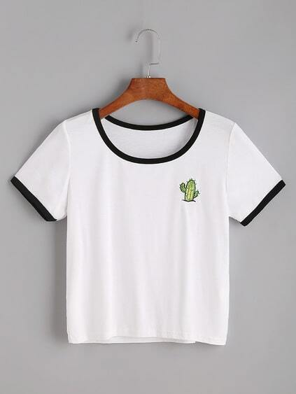 White Cactaceae Embroidered Ringer T-shirt