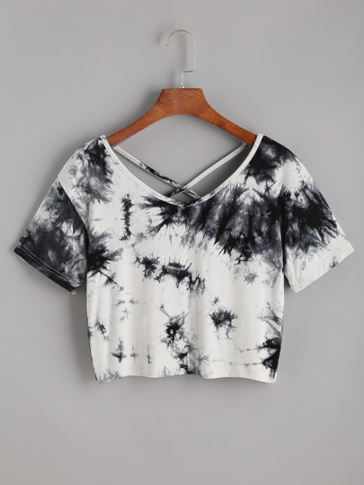 Tie Dye Criss Cross Back Crop T-shirt