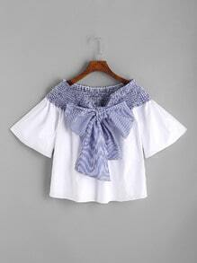 White Contrast Striped Bow Tie Shirred Top