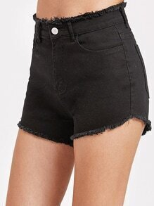 Schwarze Raw Hem Denim Shorts