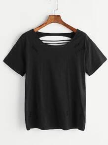 T-shirt rasé noir découpé