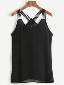 Schwarzes Strappy-Rücken geschichtetes Chiffon-Cami-Top