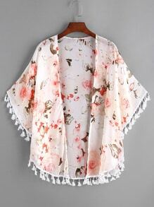 White Floral Print Fringe Hem Chiffon Kimono