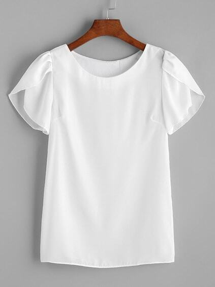 Weiß Pleated Cap Sleeve Chiffon Bluse