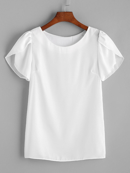 White Pleated Cap Sleeve Chiffon Blouse