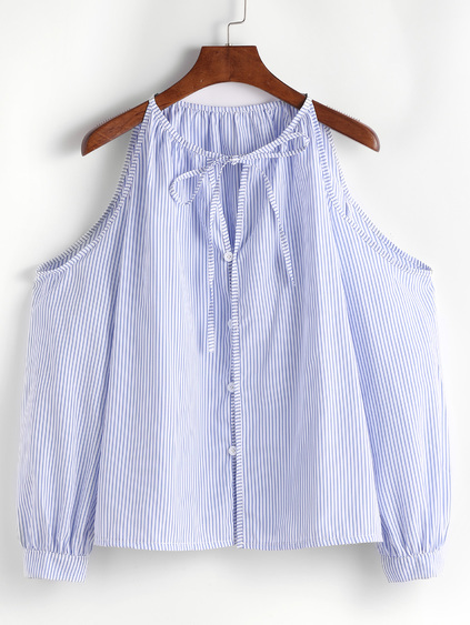 Blue Vertical Striped Cold Shoulder Tie Neck Button Top
