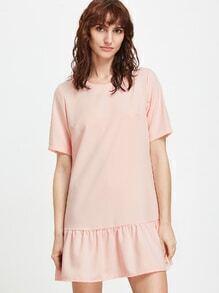 Vestido espalda con cremallera con talle bajo - rosa