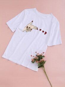 Camiseta con estampado - blanco