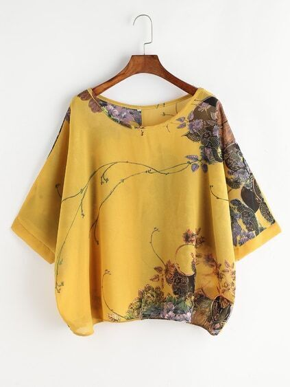 Yellow Florals Button Back Blouse