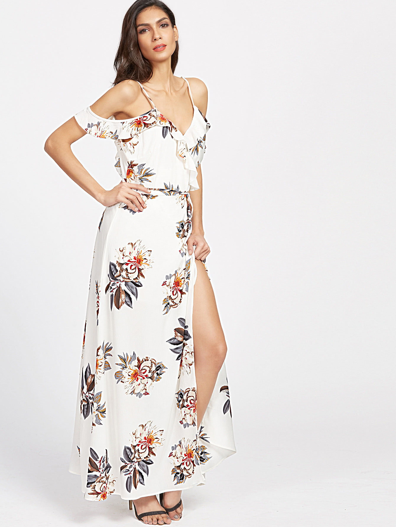 White Florals Cold Shoulder Ruffle Trim Wrap Dress
