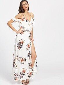 Vestido cruzado floral con hombros descubiertos ribete con volantes - blanco